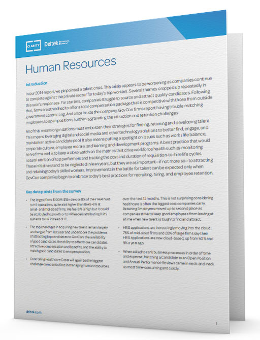 Deltek Clarity Report: Human Resources