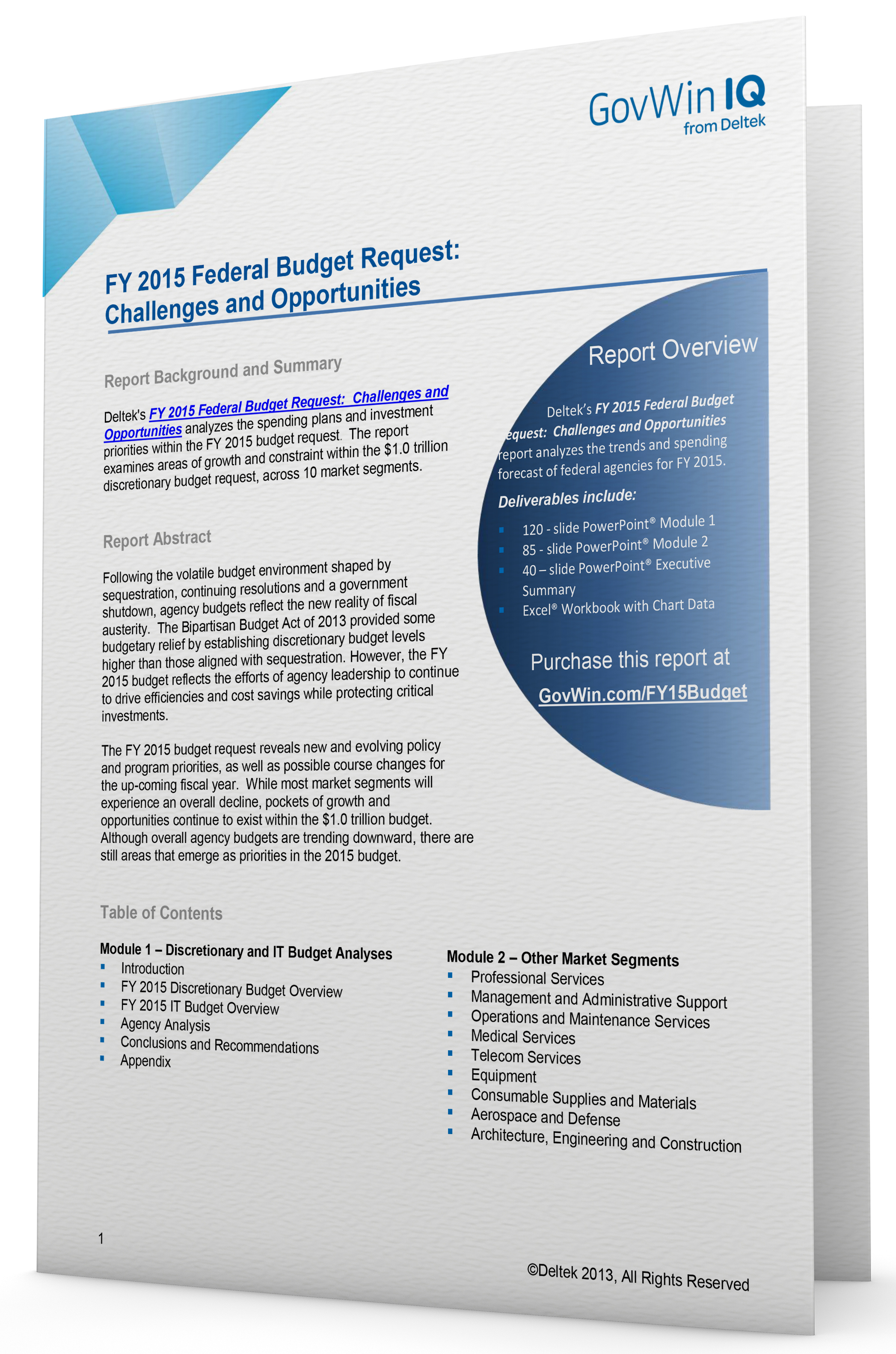 FY 2015 Federal Budget Request: Challenges & Opportunities